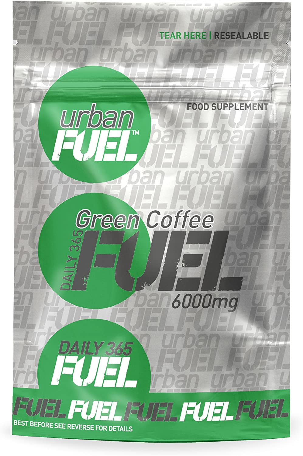 Urban Fuel Green Coffee Max Strength 6000mg - Pure Green Coffee Bean Extract Premium GCA 50 Chlorogenic Acids Natural Weight Loss Diet Pills - Slimming Pill - 30 Capsules