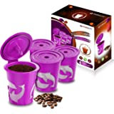 FROZ-CUP 2.0-4 Refillable/Reusable K Cups for Keurig 2.0 - K200, K300, K400, K500 Series and all 1.0 Brewers (4-Pack)