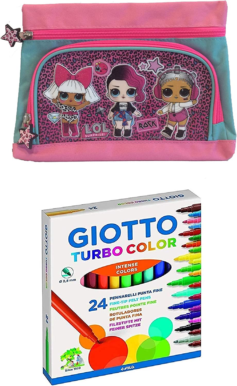 LOL SURPRISE L.O.L Surprise 2 Zips T Estuche de lápices con 24 Rotuladores Giotto Turbo Color Punta Fina Kit Escolar Infantil: Amazon.es: Juguetes y juegos