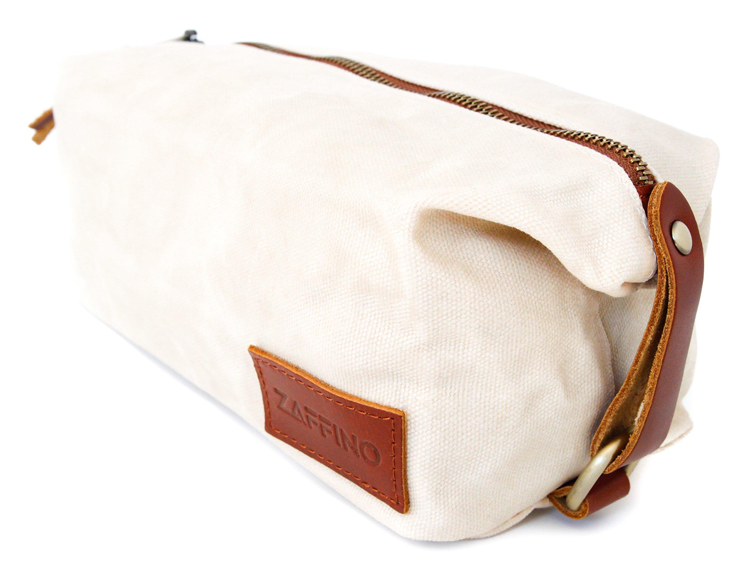 Zaffino Waxed Canvas Genuine Leather Trim Dopp Kit - Unisex Toiletry Bag & Travel Kit