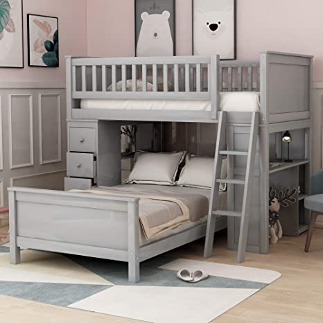 Twin-Over-Twin Bunk Bed for Kids, Loft System & Twin Bed Set with Desks,  Drawers and Ladder, Neutral Grey