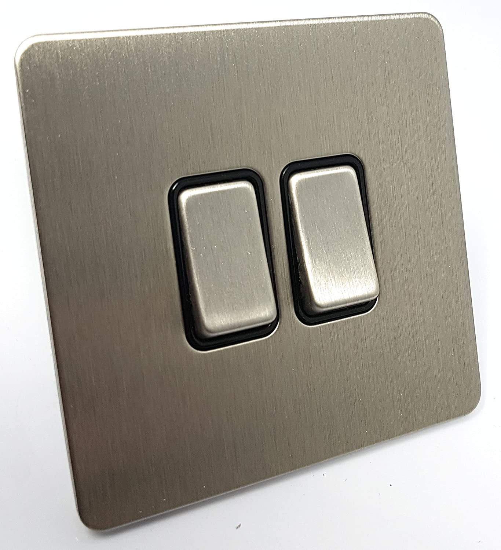 Placa plana sin tornillos Schneider Electric Ultimate Inserto negro Interruptor de luz 1 puerta 2 Way 10A Acero inoxidable