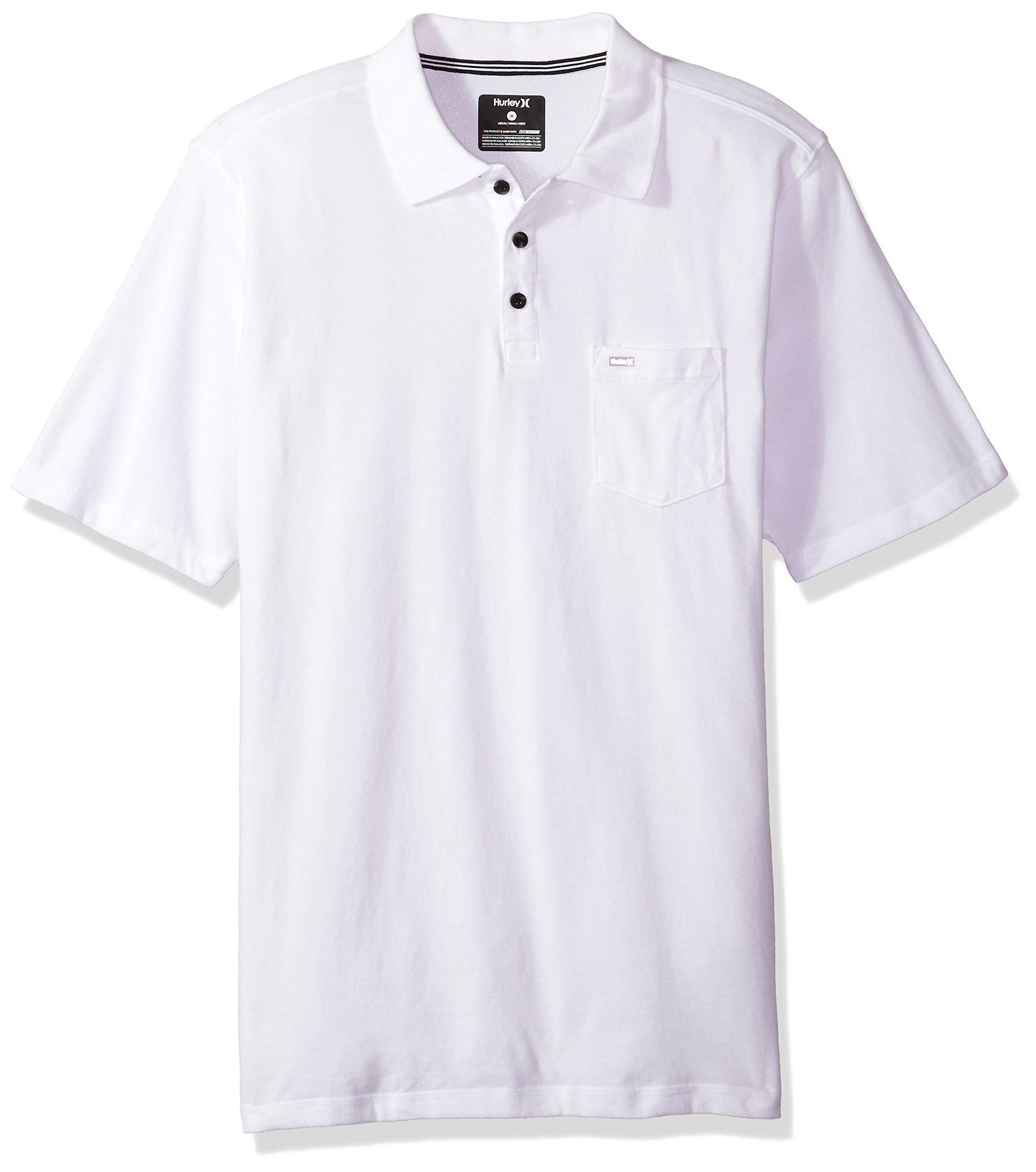 Hurley Men's Nike Dri-Fit Short Sleeve Lagos Polo, White, XL