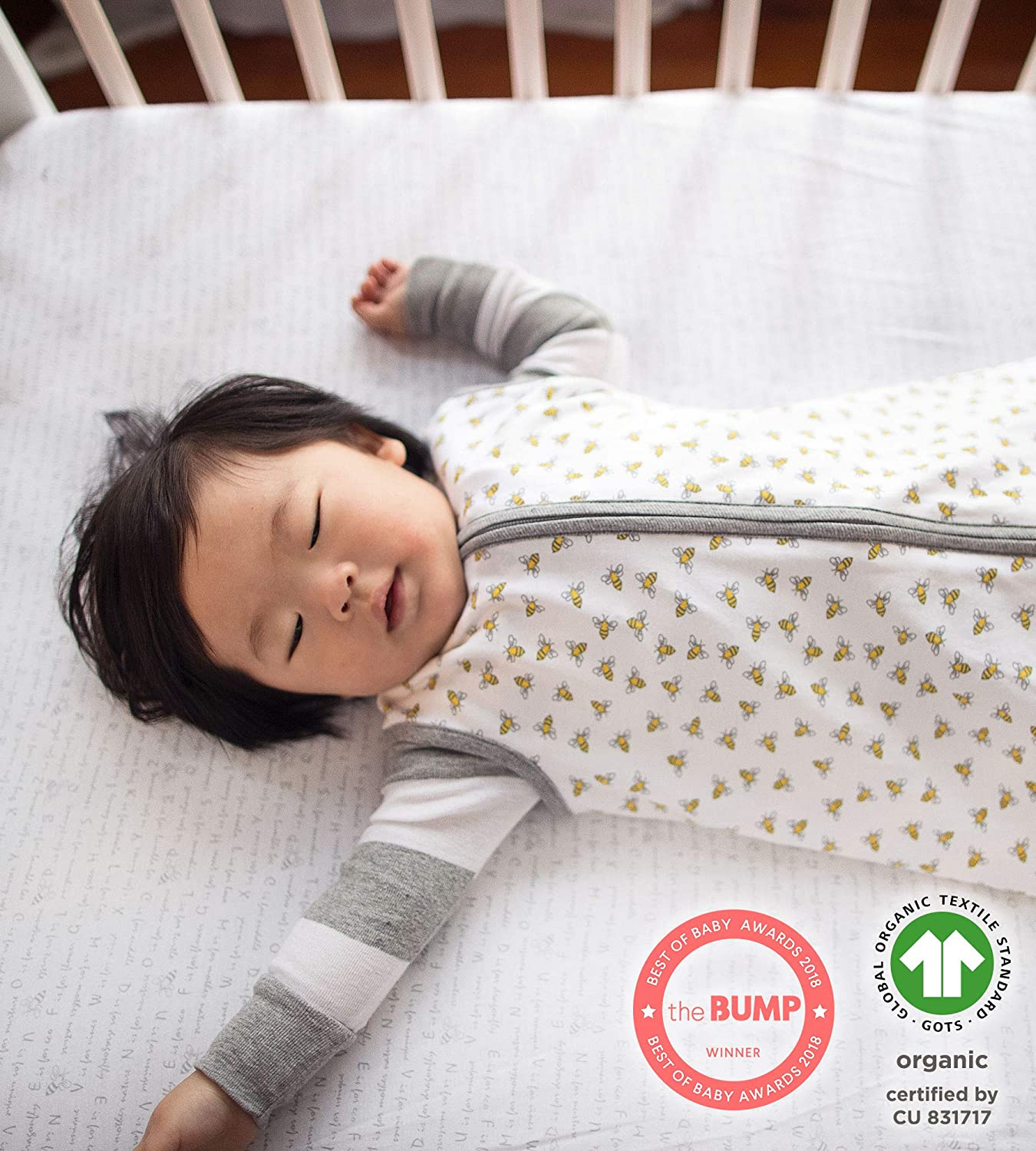 Classic Stripe 100/% Organic for Standard Crib and Toddler Mattresses Blossom Bee Essentials Stripe Fitted Crib Sheet Burts Bees Baby
