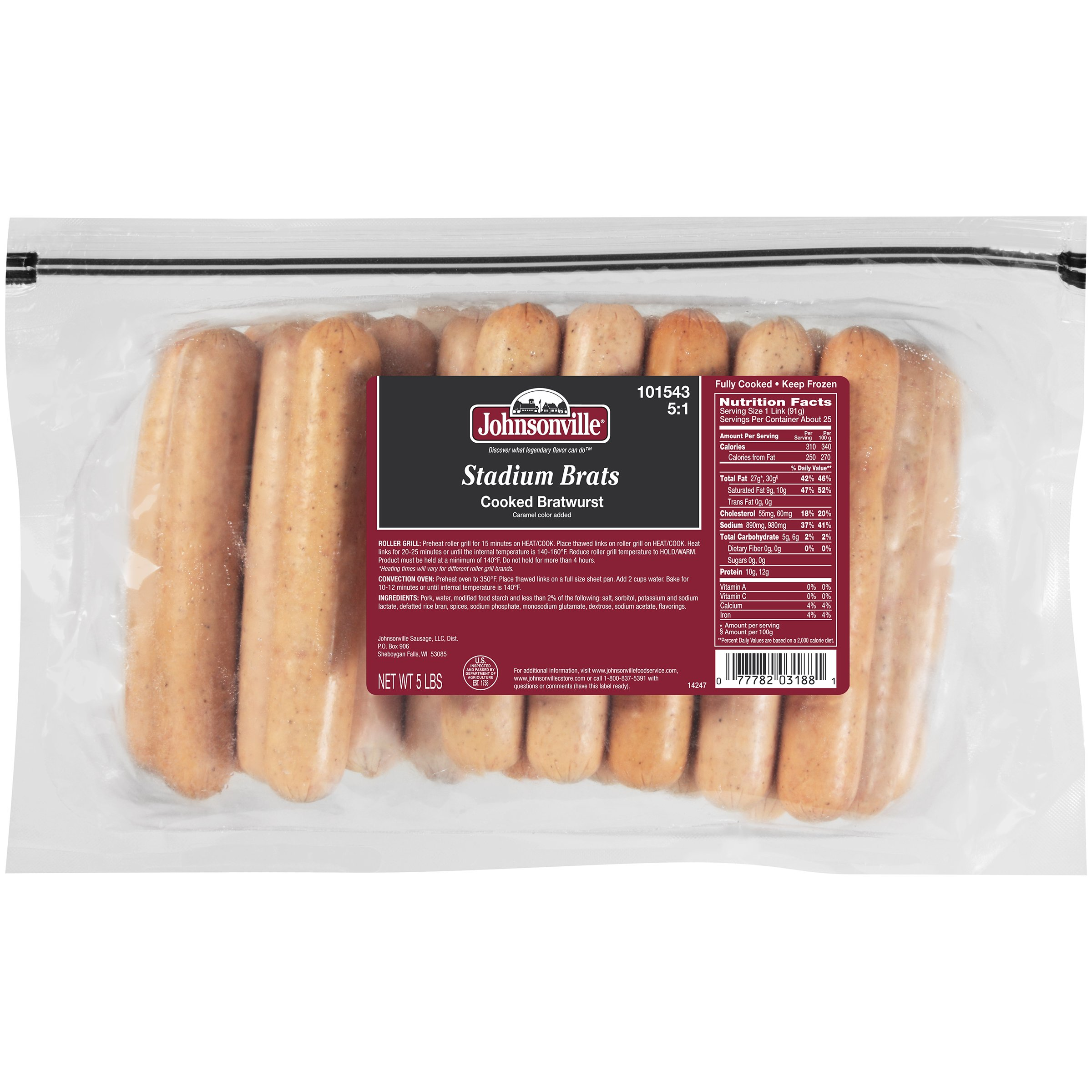 Johnsonville Stadium Style Cooked Bratwurst, 5 lb., (2 count)
