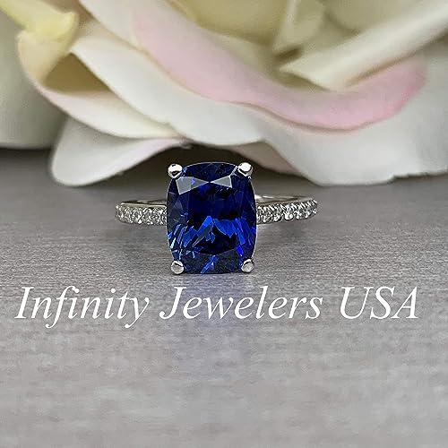 Elongated Cushion Cut Engagement Ring Blue Amazon Com