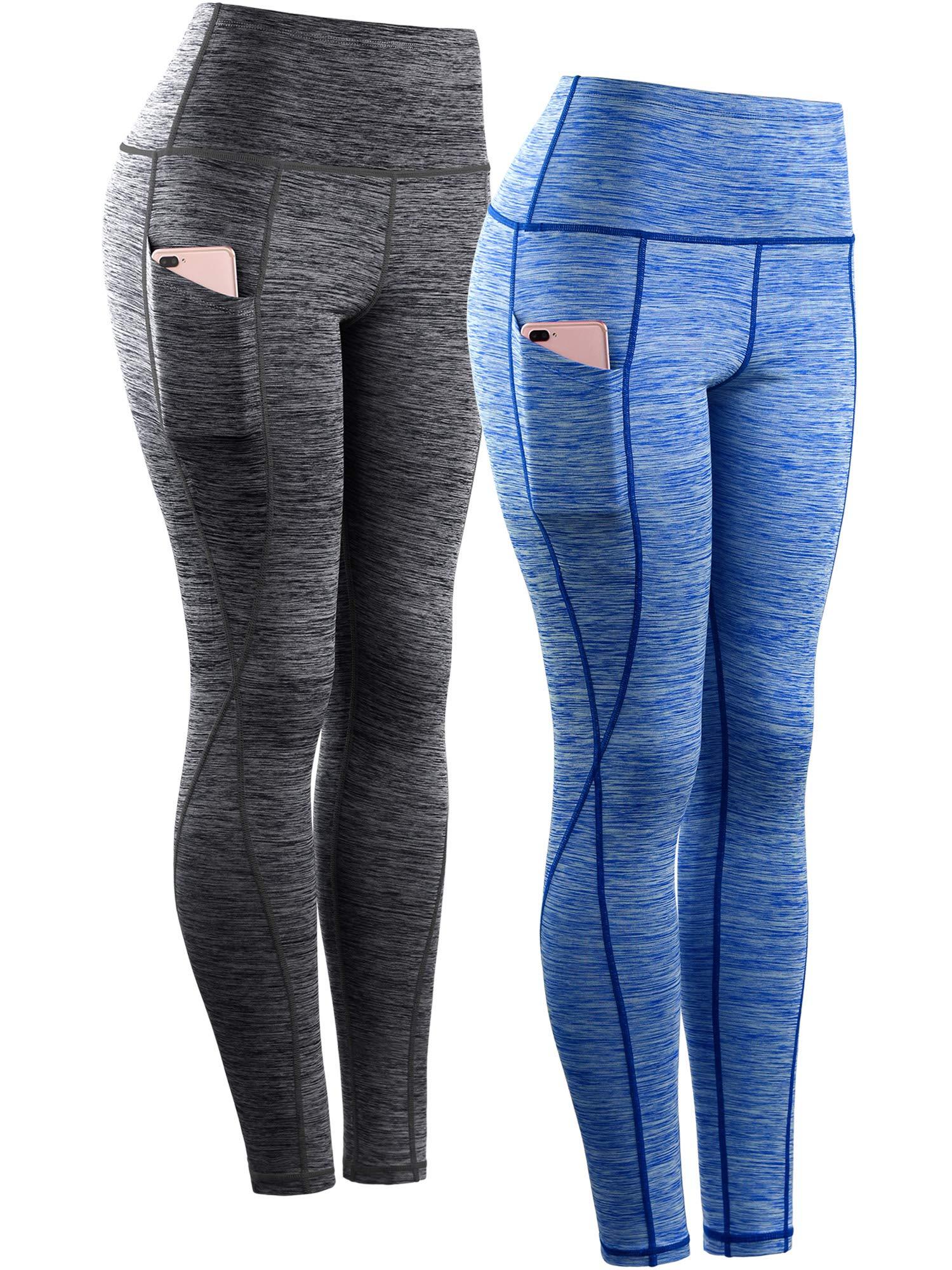 Neleus Tummy Control High Waist Workout Running Leggings for Women,9033,Yoga Pant 2 Pack,Black,Blue,S,EU M