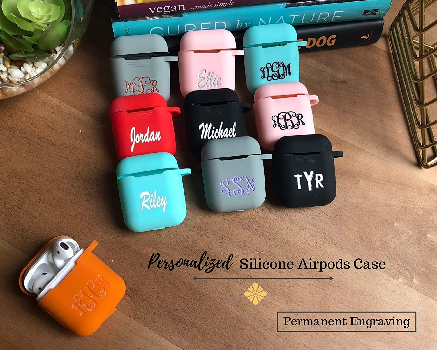 Personalized Airpods Case Custom Airpods Case Personalized Gift Personalized Earbuds Cover Monogram Gift Silicone Airpods Case Silicone Earbuds