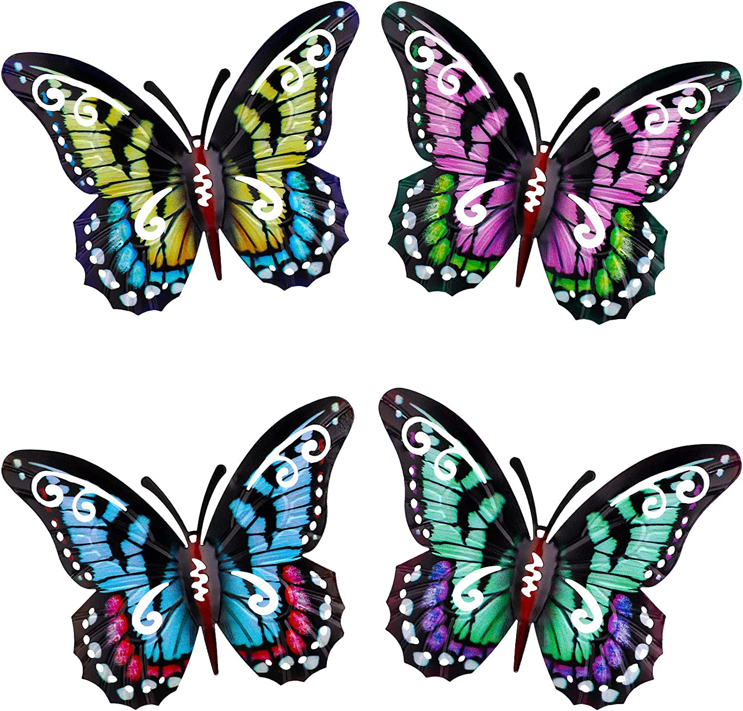 4 Pieces 3D Metal Butterfly Wall Hanging Decor, Wrought Iron Hollowed-Out Butterfly Mural, Wall Decorations for Indoor and Outdoor (Retro Style)