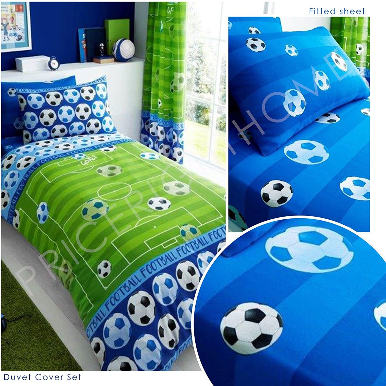 GOAL FOOTBALL SINGLE FITTED SHEET /& PILLOWCASE SET BEDDING KIDS GREEN
