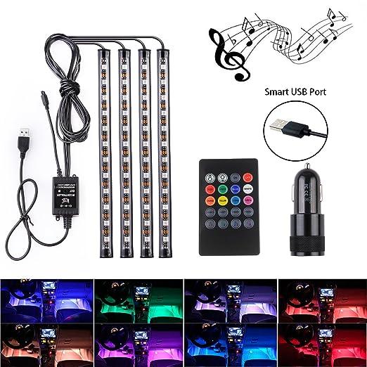 4 opinioni per Luci a LED per auto- Moobibear 4pcs 48 LED per interni auto, luci per musica