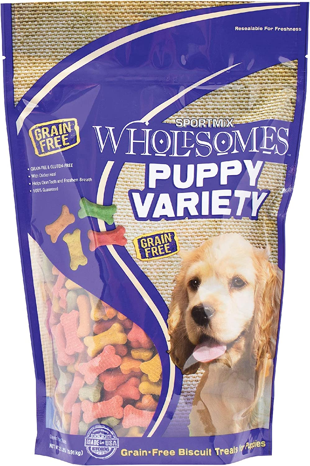 Sportmix Wholesomes Puppy Variety Grain Free Dog Biscuit Treats, 2 Lb.