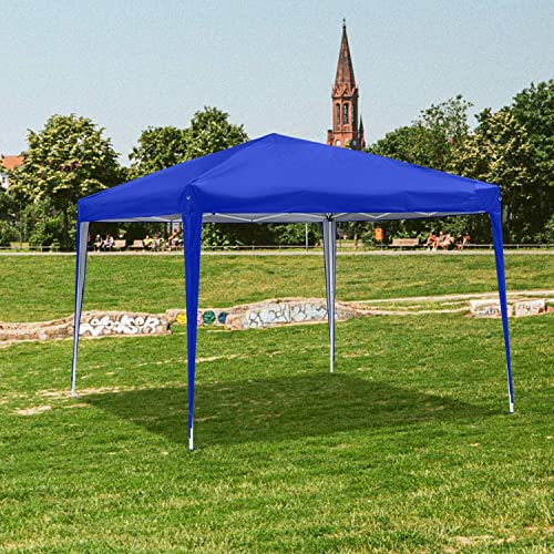 OVASTLKUY 10x10ft Outdoor Portable Folding Pop Up Gazebo Canopy Shade Tent Blue