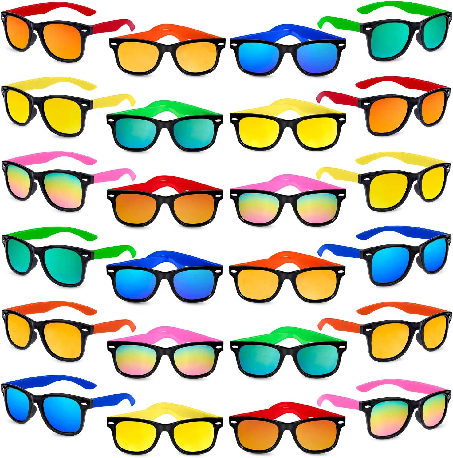 24Pack Neon Sunglasses with UV 400 Protected in B Kids Sunglasses Party Favors