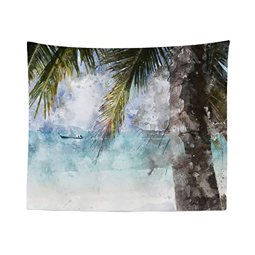 Tropical Beach Tapestry Wall Hanging Palm Tree Summer Watercolor Tapestries Dorm Room Bedroom Decor Art – Printed in the USA – Small to Giant Sizes