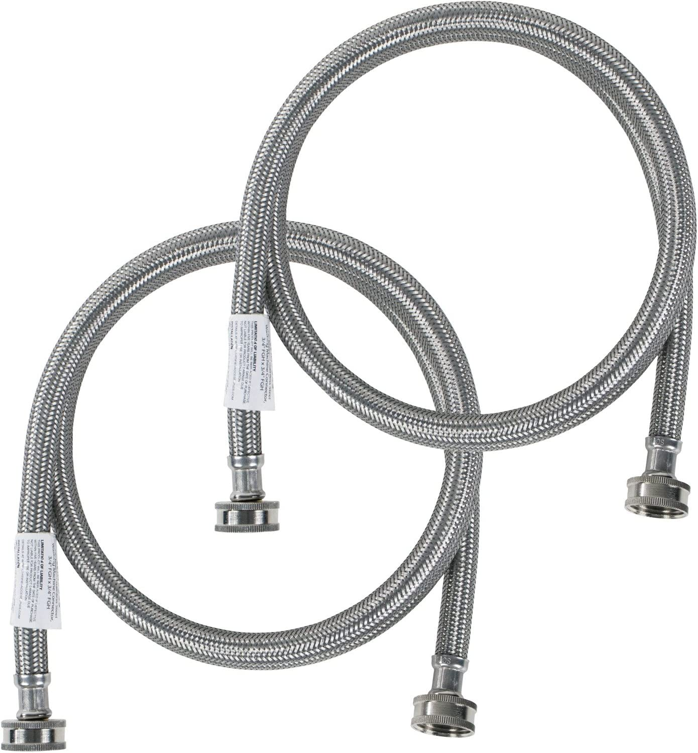 Certified Appliance Accessories Washing Machine Hoses (2 Pack), Hot and Cold Water Supply Lines, 6 Feet, PVC Core with Premium Braided Stainless Steel in Protective Clamshell Packaging
