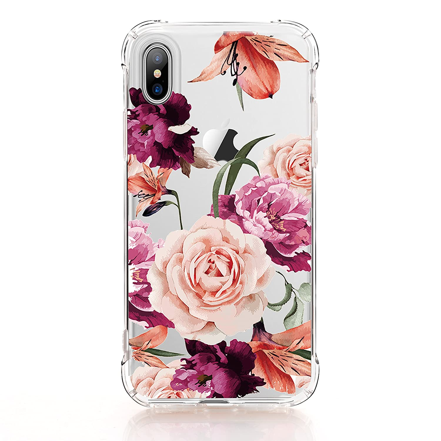 luolnh iPhone X Case,iPhone Xs Case with Flowers, Slim Shockproof Clear  Floral Pattern Soft Flexible TPU Back Cover case for iPhone X/iPhone Xs 5.8