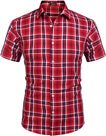 Coofandy Camisa de algodón con botones de ajuste regular para hombre