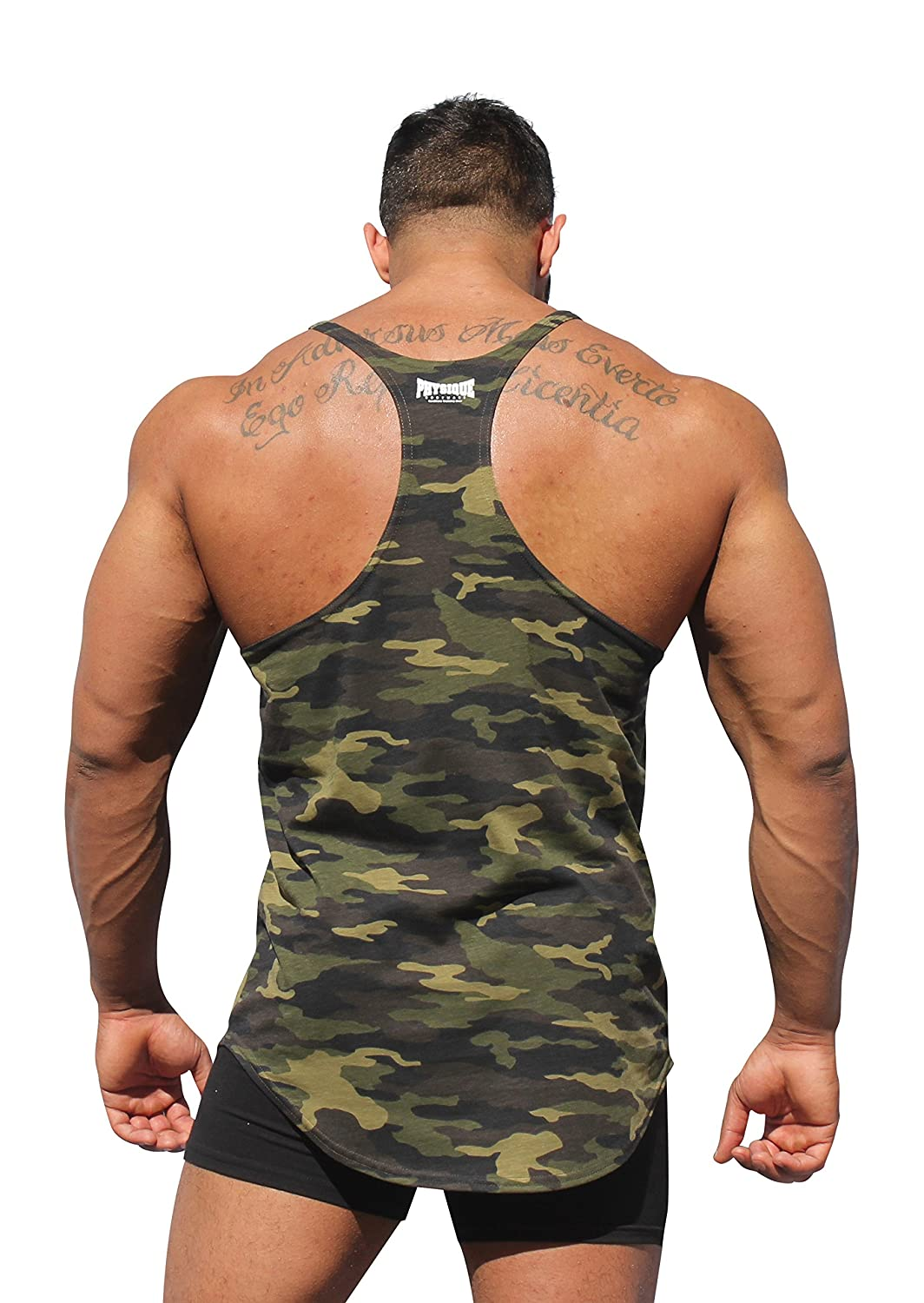e12b8bd5253b6 Amazon.com  Physique Bodyware One More Rep Camouflage Men s Y-Back Stringer  Tank Top. Made In America (Small