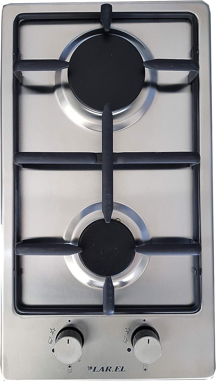 Larel - Placa de cocción Domino con 2 fogones y rejilla ...