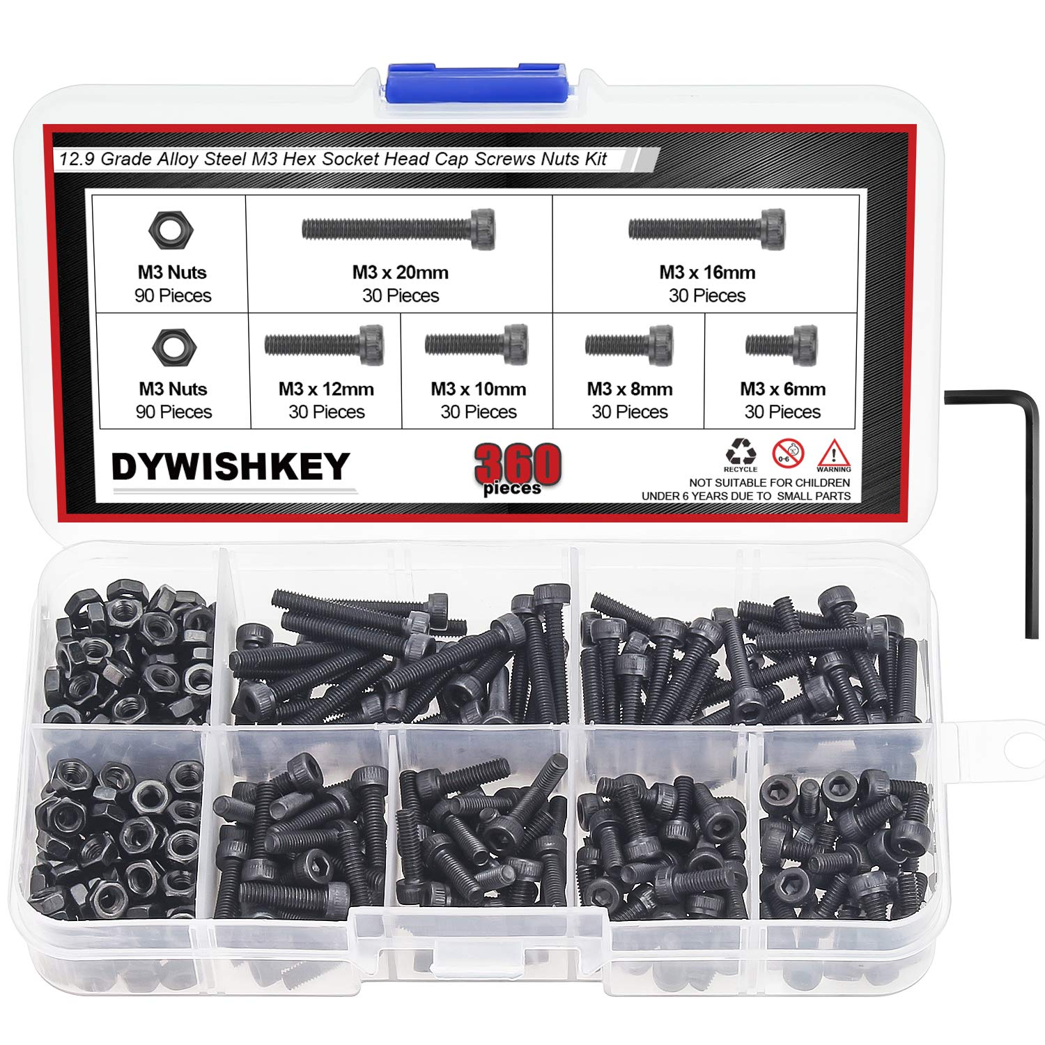 DYWISHKEY 360 Pieces M3 x 6mm/8mm/10mm/12mm/16mm/20mm, 12.9 Grade Alloy Steel Hex Socket Head Cap Bolts Screws Nuts Kit with Hex Wrench