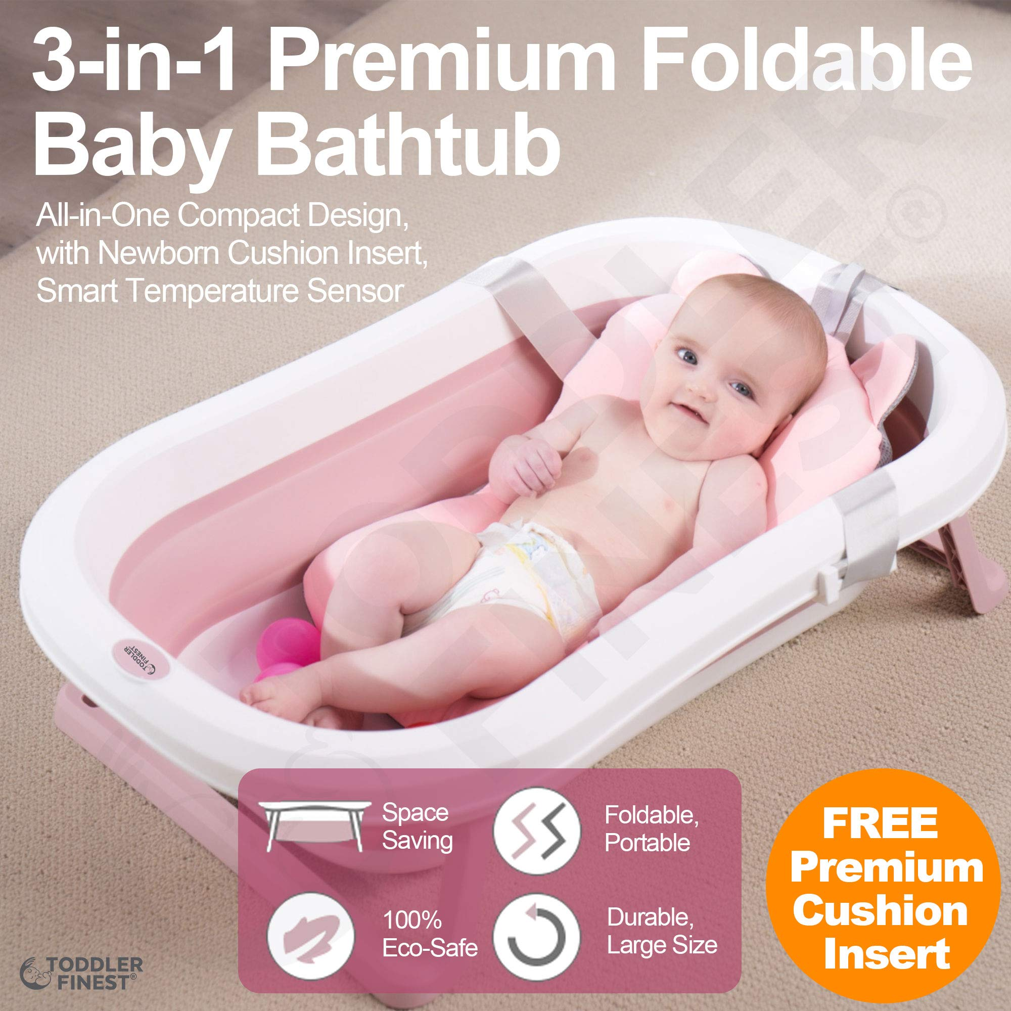 3-in-1 Portable Collapsible Infant to Toddler Space Saver Foldable Bath tub - Anti Slip Skid Proof - with Cushion Insert & Water Rinser for Bathing Newborns (Pink) by ToddlerFinest