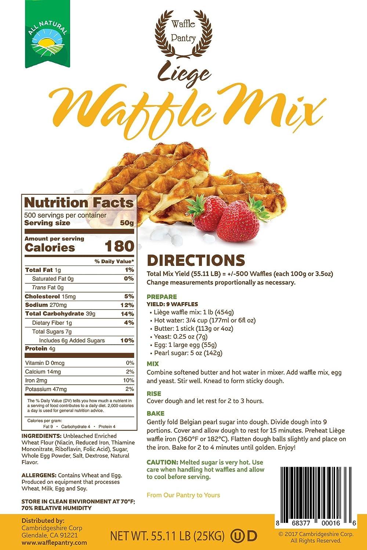 Waffle Pantry Liege Waffle de mezclar, 55 Lb: Amazon.com ...