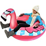 GoFloats Winter Snow Tube - Inflatable Sled for Kids and Adults (Choose from Unicorn, Ice Dragon, Polar Bear, Penguin, Flamin