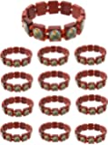 Frogsac 12 Pieces St.Jude Religious Wood Tile Bracelets