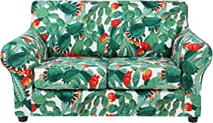 hyha Printed Couch Cover for 2 Cushion Couch - Floral Pattern Sofa Cover with Separate Cushion Cover, 3 Pieces Stretch Loveseat Slipcover Washable Furniture Protector (Loveseat, Cactus)