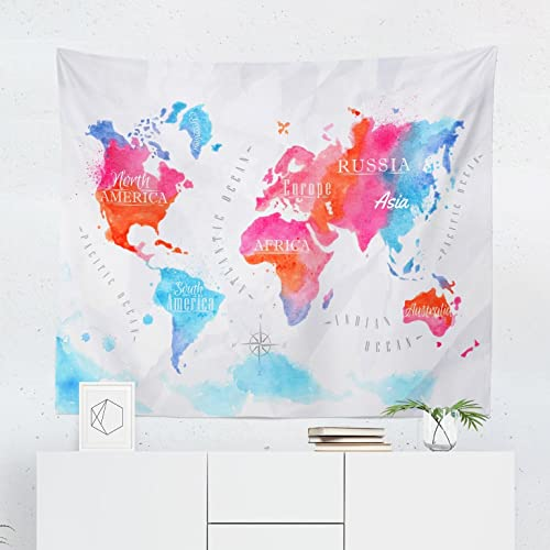 Amazon world map watercolor tapestry maps global pink blue world map watercolor tapestry maps global pink blue wall tapestries hanging dcor bedroom dorm college gumiabroncs Image collections
