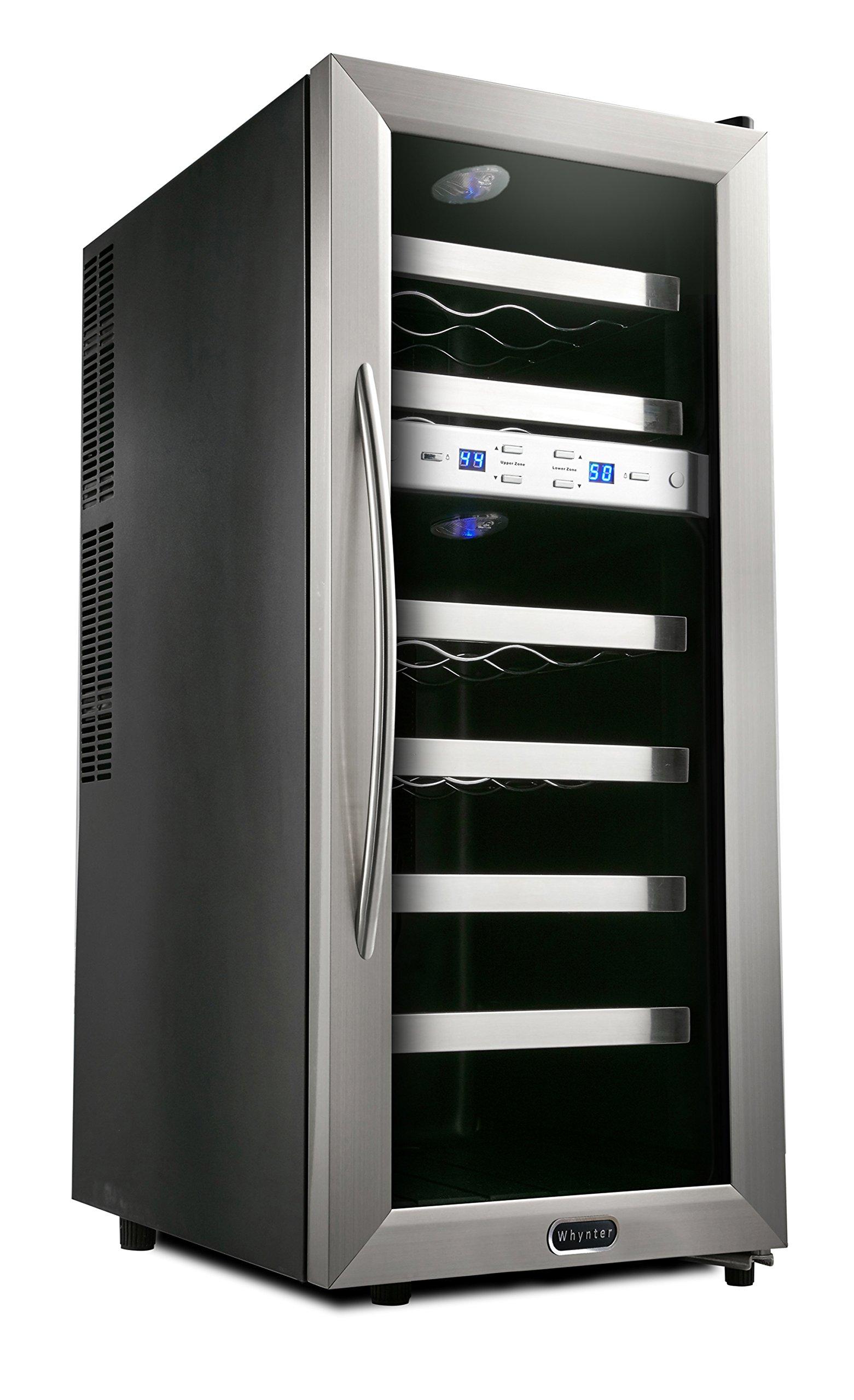 Whynter WC-211DA 21 Bottle Dual Temperature Zone Freestanding Wine Cooler, Black