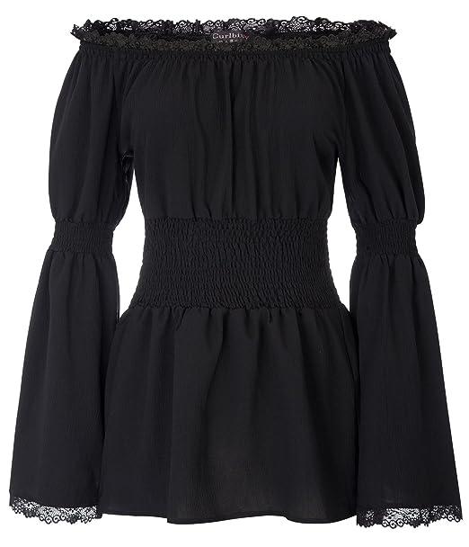 072b33c880 Women Gothic Renaissance Long Sleeve Off Shoulder Lace Boho Tops at ...