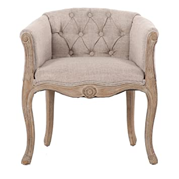 BYMS Upholstered Sofa Chair Accent Chair With Arm, Hand Carved Wood, Oak  Antiqued Armchair