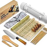 ISSEVE Sushi Making Kit, Bamboo Sushi Mat, All In One Sushi Bazooka Maker with Bamboo Mats, Bamboo Chopsticks, Paddle…