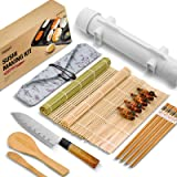 ISSEVE Sushi Making Kit, Bamboo Sushi Mat, All In One Sushi Bazooka Maker with Bamboo Mats, Bamboo Chopsticks, Paddle, Spread