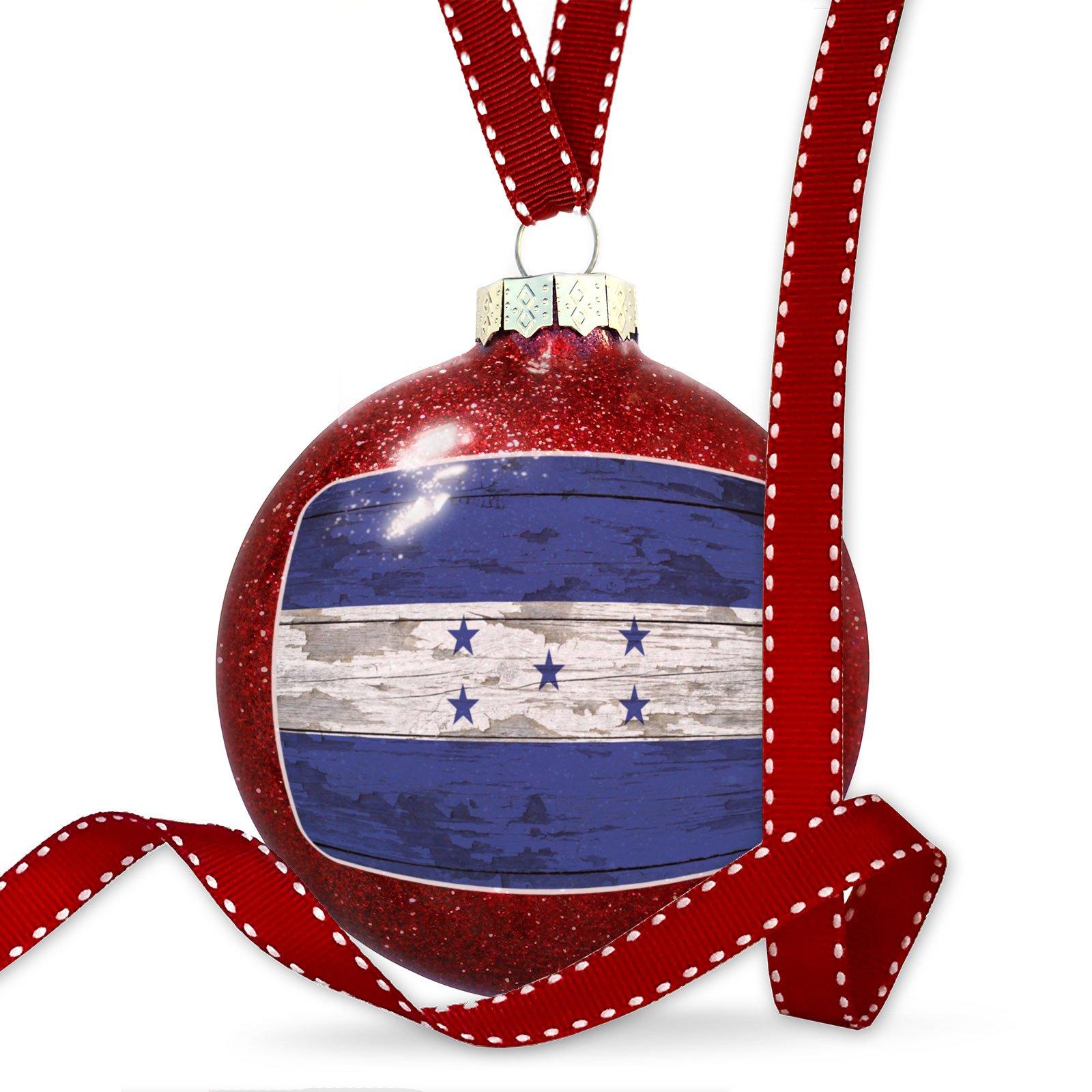 Christmas Decoration Flag on Wood Honduras Ornament