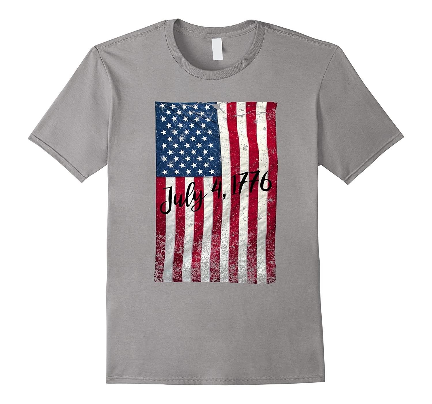 Faded Vintage American Flag 4th of July 1776 T-Shirt-TH