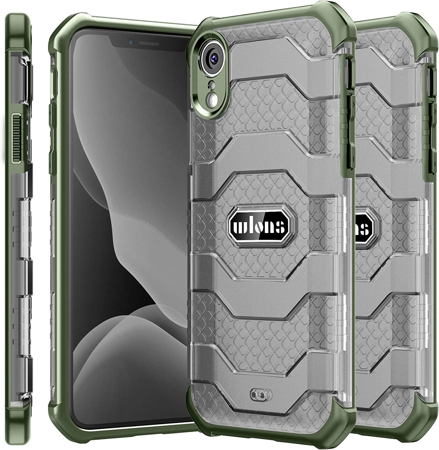 Wlons Designed Phone Case Shockproof Case with TPU Soft Bumper for iPhone XR Military Drop Tested iPhone Case (Light Green, 6.1 XR)