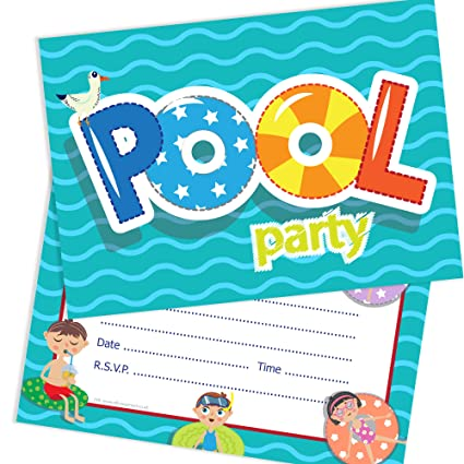 Olivia Samuel Swimming Pool Party Invitations Ready To Write With Envelopes Pack 10