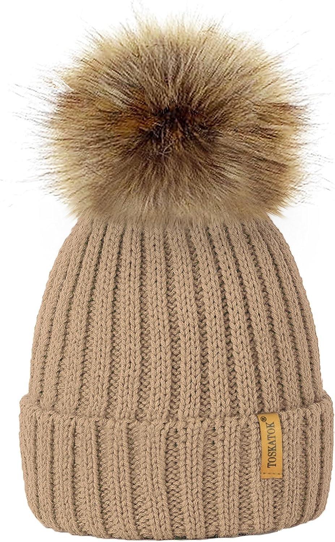 TOSKATOK/®Womens Winter Rib Knitted Hat//Beanie with Detachable Chunky Faux Fur Bobble Pom Pom