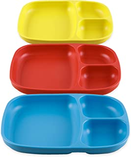 product image for Re-Play Set of 3 - Made in The USA Deep Divided Heavy Duty Dining Plates with 3 Compartments for All Ages - Sky Blue, Red, Yellow (Preschool)