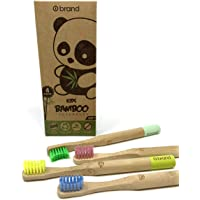 KIDS Bamboo Toothbrush, Soft Bristle Toothbrush, 4 PACK, ROUND HANDLE, Eco Friendly & Natural, BPA Free, Wooden…