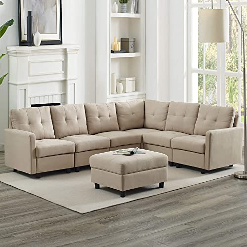 DAZONE Modular Sectional Sofa Assemble 7-Piece Modular Sectional Sofas Bundle Set Cushion