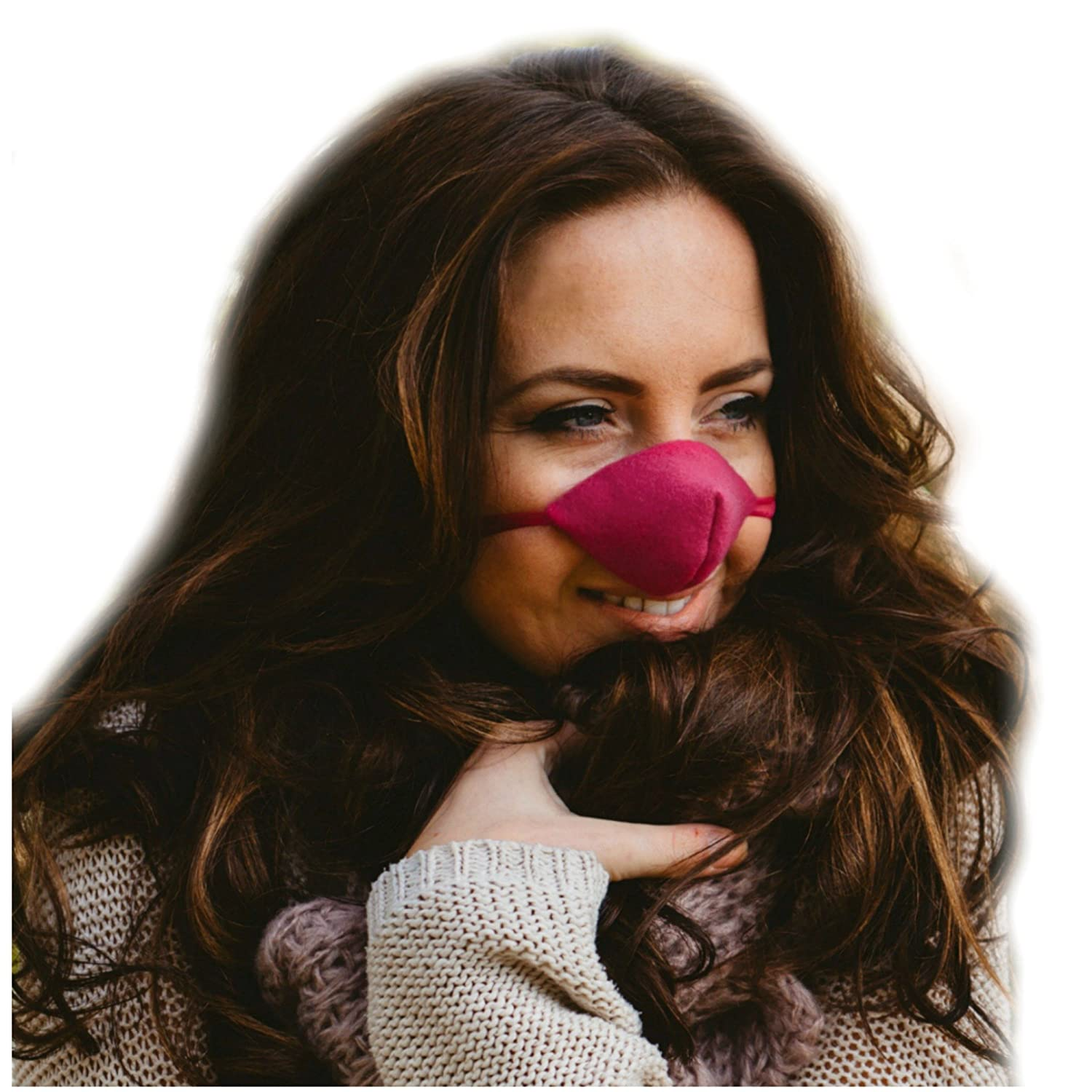 Hot Pink Fleece Nose Warmer with ribbon