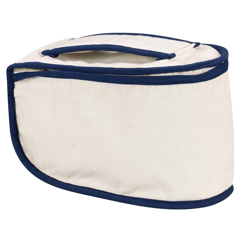 Household Essentials 900 Polyester Cotton Canvas Iron Caddy Storage Bag, Natural, Blue Trim Hosuehold Essentials