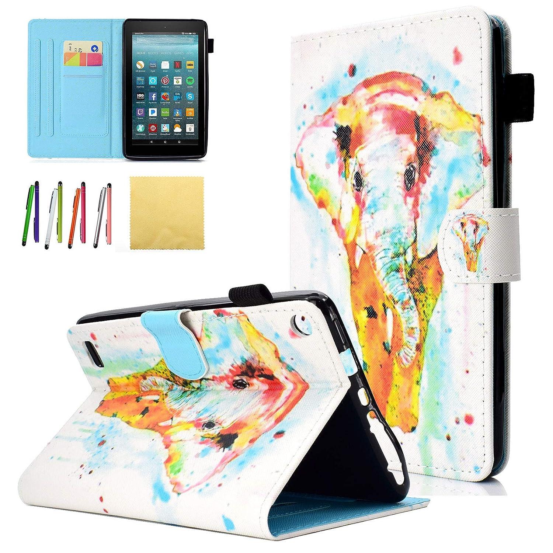 【オープニング 大放出セール】 Kindle Fire Fire 7 2017(7th B07KWNCLJL Generation)/ Generation)/ Fire 7 2015(5th Generation)子供用ケース、Coopts PUレザースリムフォリオ漫画スタンドウォレットカバー、すべて新品Amazon用Kindle Fire 7.0インチタブレット、カラフルな象 B07KWNCLJL, アトリエブルージュflower shop:19913745 --- a0267596.xsph.ru