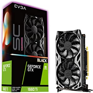 EVGA GeForce GTX 1660 Ti SC Ultra Black Gaming, 6GB GDDR6, Dual Fan, Metal Backplate, 06G-P4-1665-KR