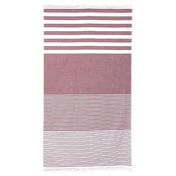 Fouta - Toalla de playa (100 x 180 cm, 100% algodón, 290 g/m² Palanga rayas rojas: Amazon.es: Hogar