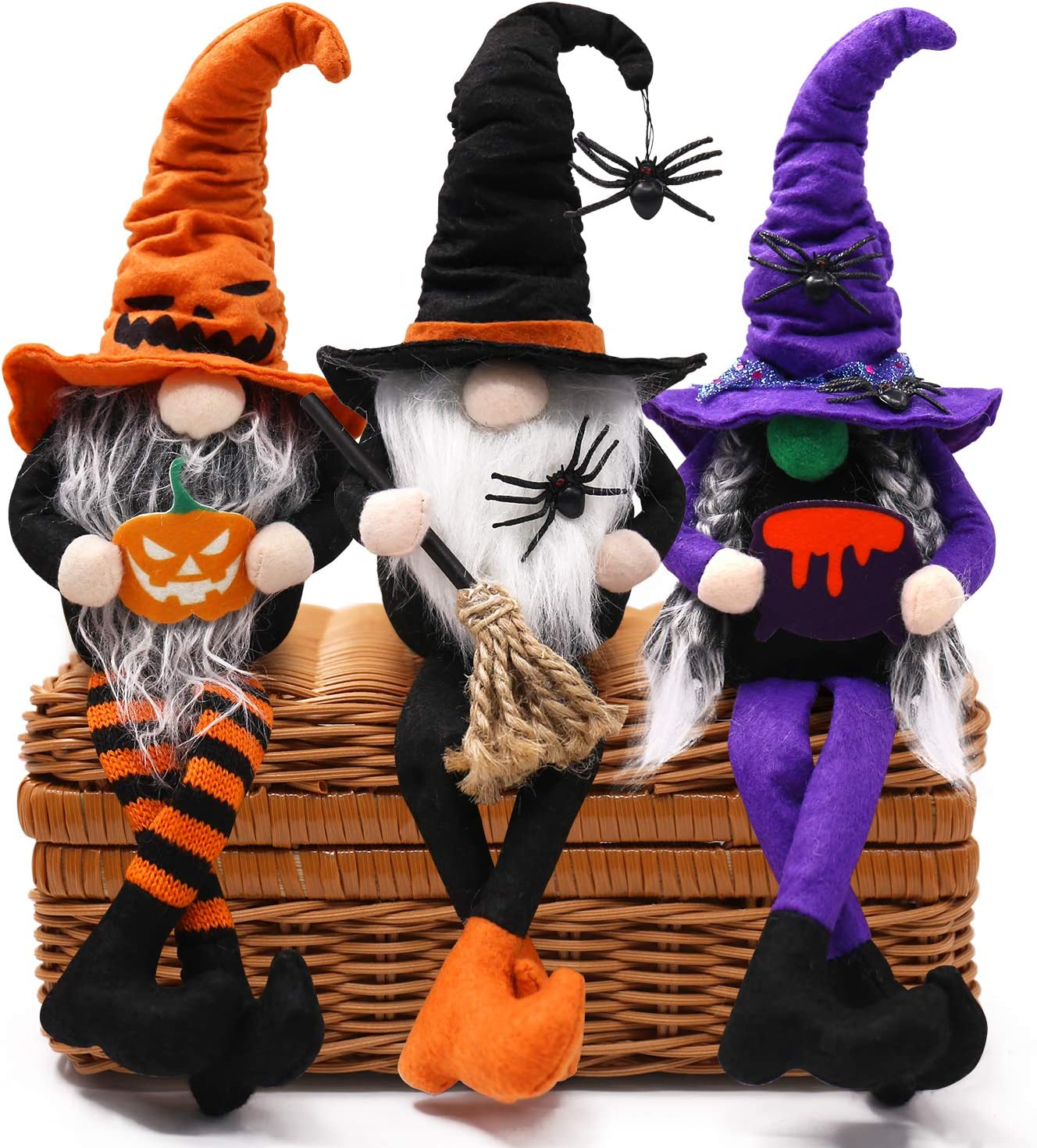 CiyvoLyeen Halloween Dangle Leg Gnomes Decorations Shelf Sitters Handmade Halloween Decor Tomte Swedish Gnome Nisse Scandinavian Gnomes Plush Elf Dwarf Home Household Ornaments Set of 3